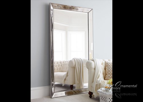 Angled beaded silver mirror