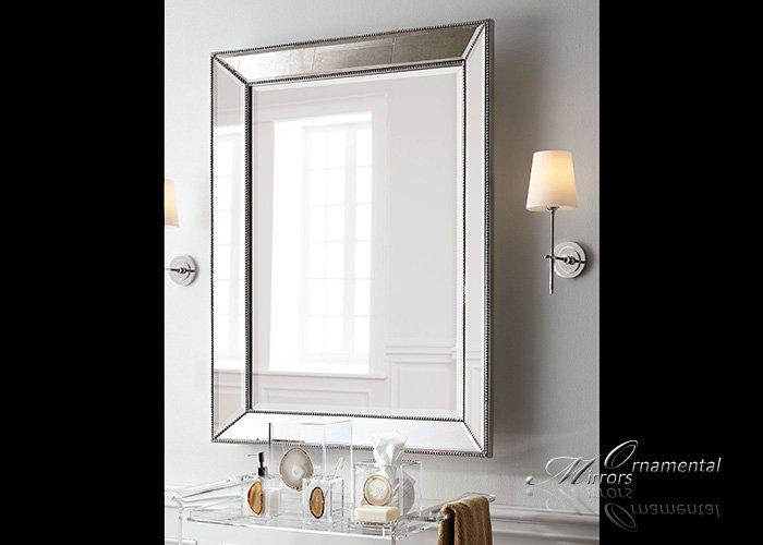 angled beaded silver wall mirror