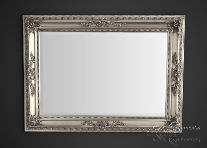 Silver Mirror Wall Photo Frame: Silver Ornate Framed Mirror