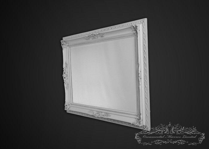 Ornate White Framed Mirror