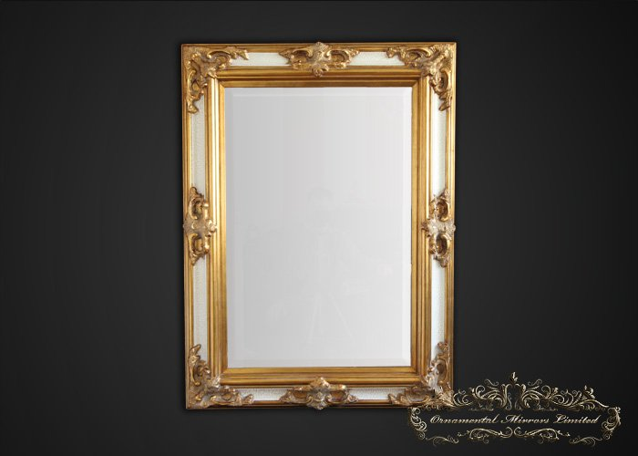 Classical Gold And Ivory Ornate Mirror