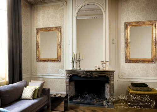 Classical adorned gold mirrors