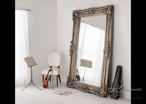 Extra large silver floor mirror