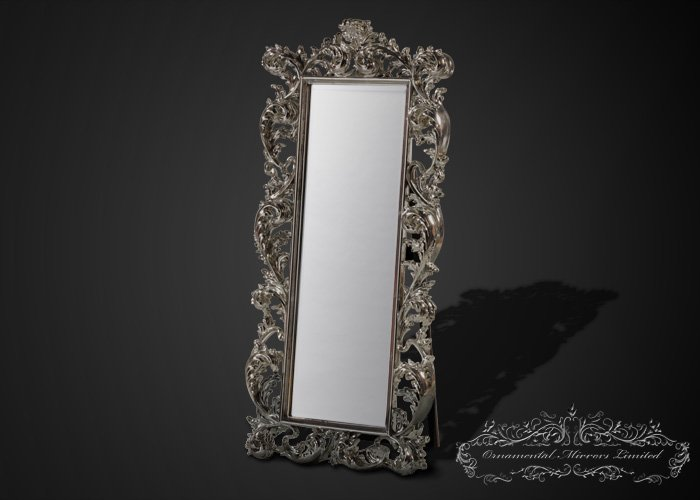 Emperor silver leaf free standing full length mirror for Silver stand up mirror