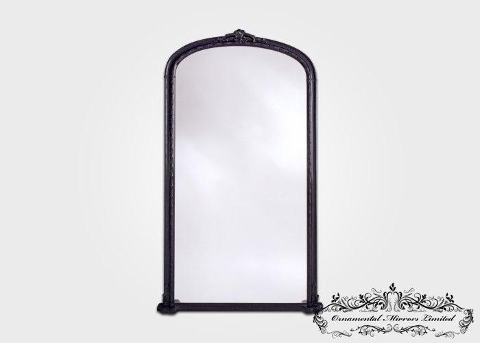 Formal Ornate Black Leaner Mirror Or Over Mantel Mirror
