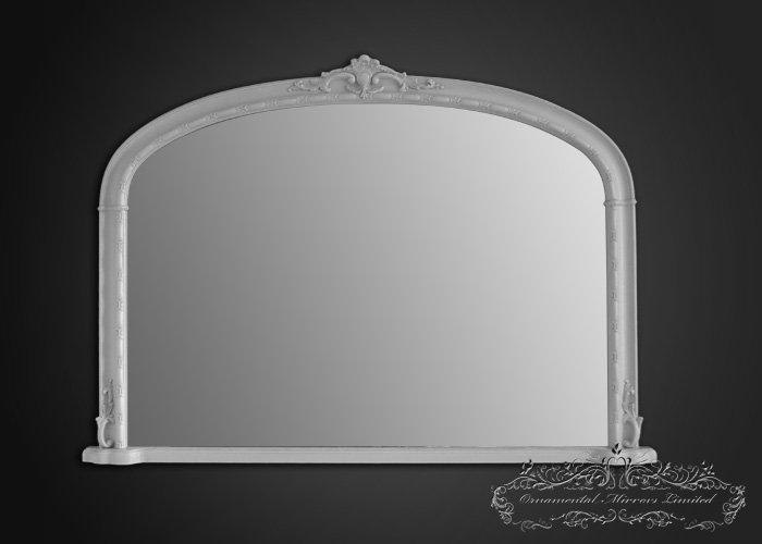 Traditional white over mantel mirror from ornamental for Mirror over mirror