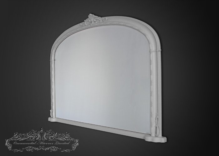 Traditional white over mantel mirror from ornamental for Mantel mirrors