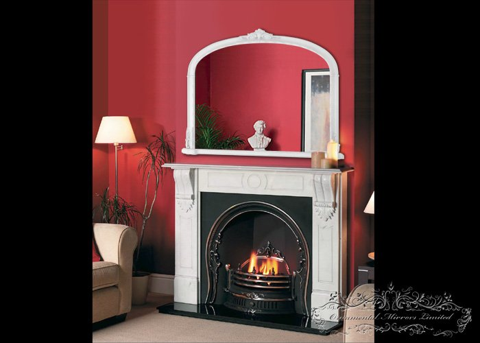 Traditional White Over Mantel Mirror From Ornamental