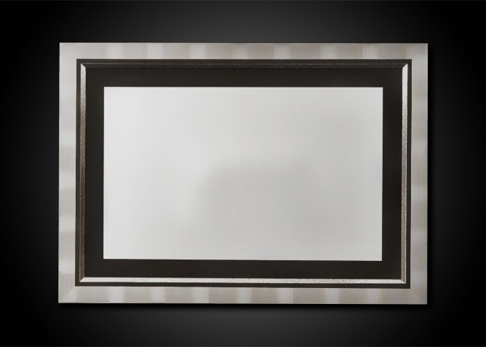 Formal Rectangular Silver Leafed Mirror With Mosaic Accent
