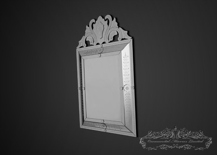 Venetian Glass Mirrors From Ornamental, Long Narrow Venetian Mirror