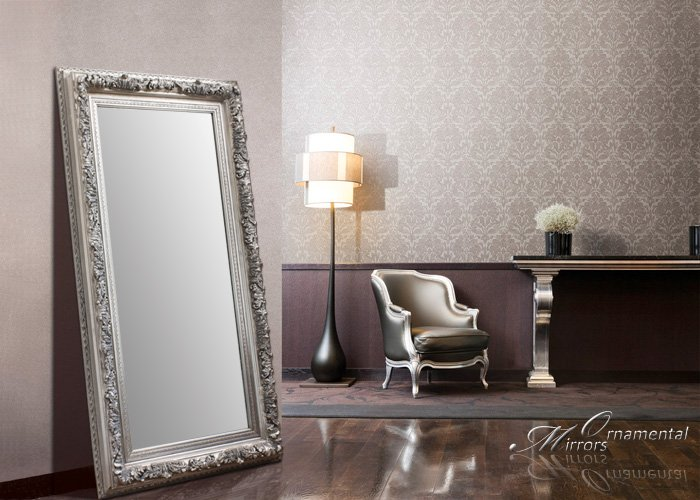Silver leaner mirror large silver wall mirror for Large silver modern mirror