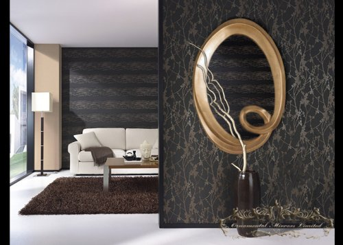 Large twisted gold oval mirror