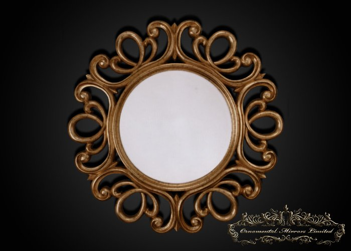 Ornate Antique Gold Round Mirror From Ornamental Mirrors