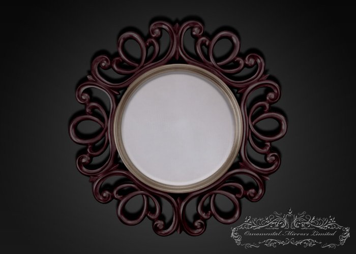 Ornate Mahogany Round Mirror From Ornamental Mirrors Limited