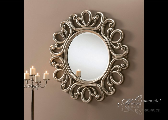 Ornate Silver Round Mirror From Ornamental Mirrors Limited