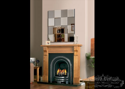 Silver tinted tiled multi-facial mirror