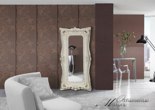 Large mirrors leaner mirrors and floor standing mirrors for Floor mirror italian baroque rococo style in lacquer finish