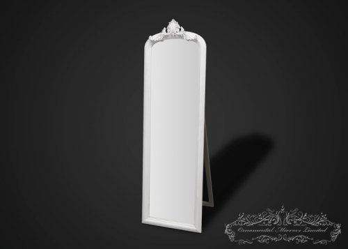 Ornate White Mirror with Stand