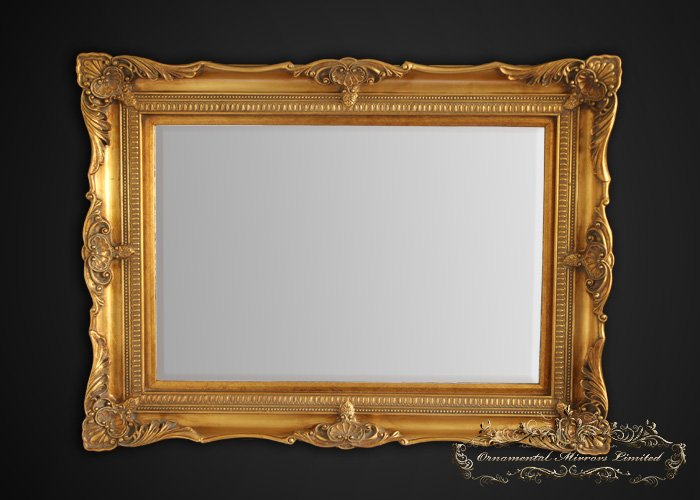 Classic gold ornate mirror from ornamental mirrors limited for Gold frame floor mirror