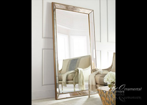 Angled Beaded Gold Mirror