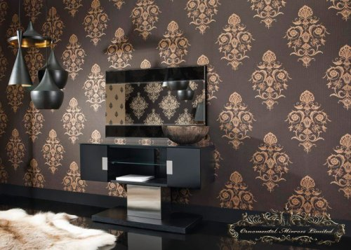 Splendor Black Glass Mirror