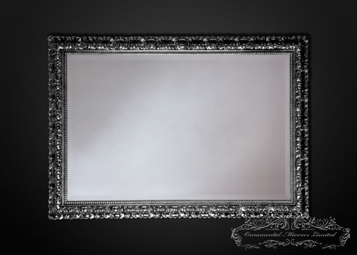 Temptation Rectangular Silver Wall Mirrors With Black