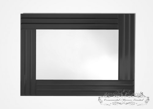 Triple Edge Black Glass Mirror
