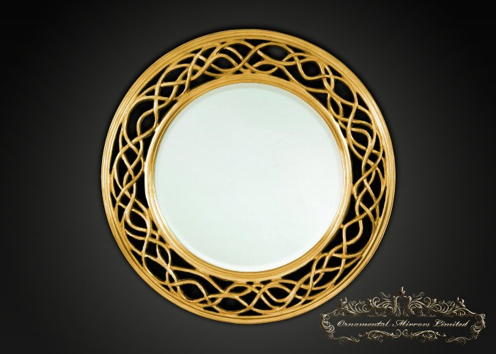 Waves And Circle Gold Round Mirror From Ornamental Mirrors