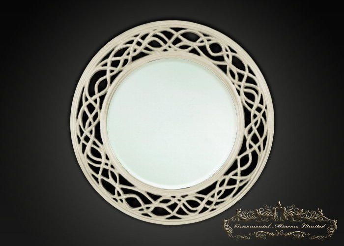 Waves And Circle Ivory Round Mirrors From Ornamental