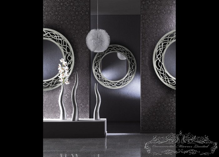 Waves And Circle Silver Round Mirrors From Ornamental