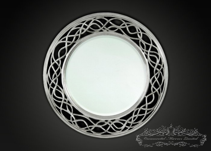 Waves and Circle Silver Round Mirrors from Ornamental ...